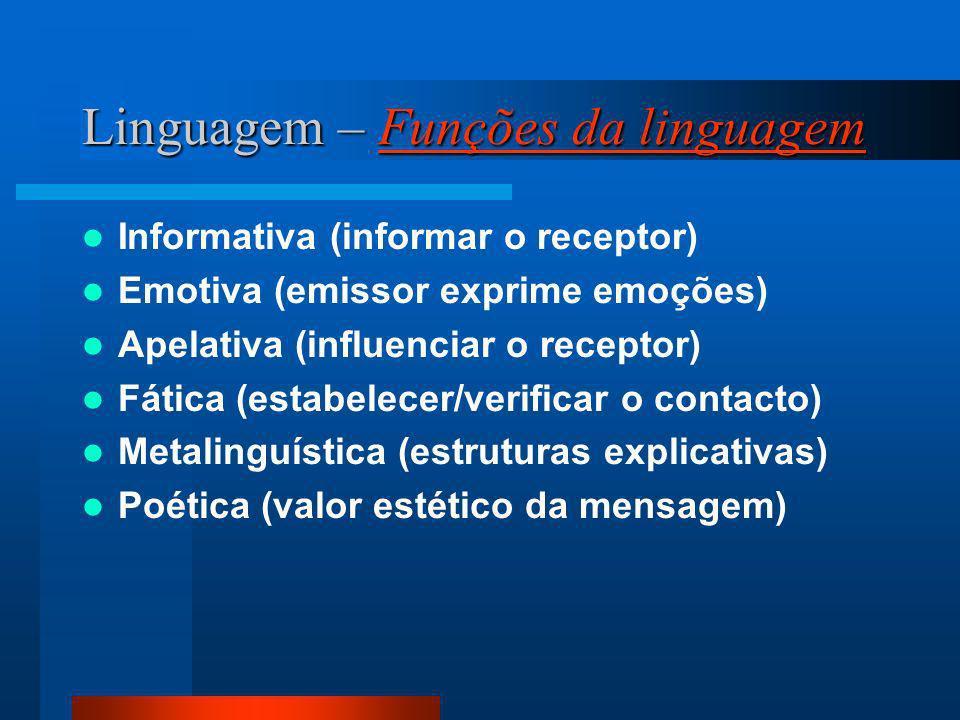 Linguagem – Funções da linguagem Funções da linguagemFunções da linguagem Informativa (informar o receptor) Emotiva (emissor exprime emoções) Apelativ