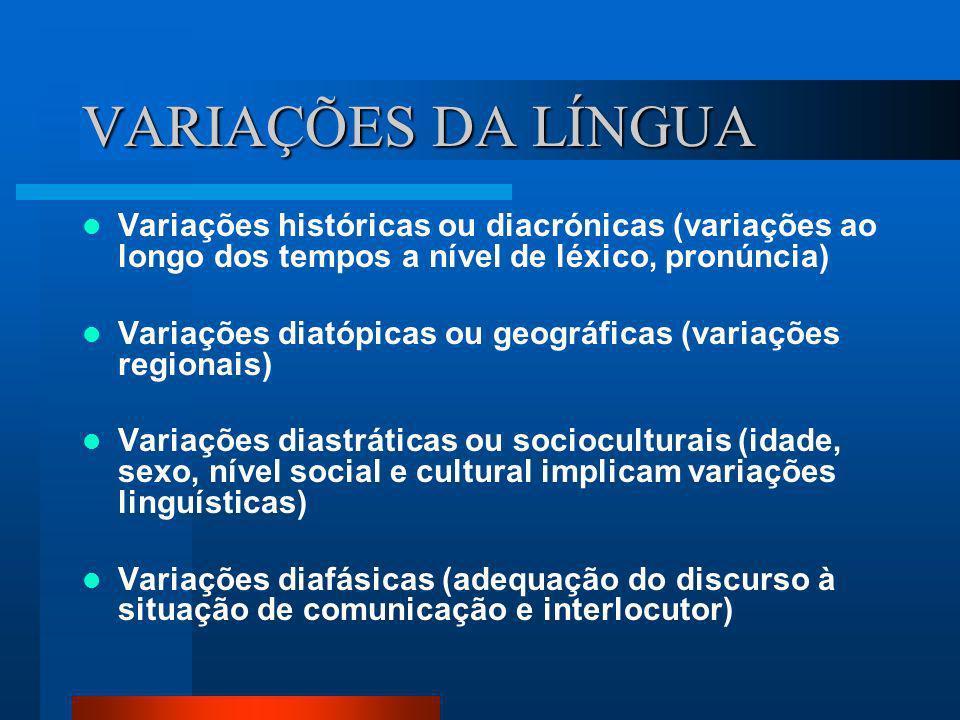 VARIAÇÕES DA LÍNGUA Variações históricas ou diacrónicas (variações ao longo dos tempos a nível de léxico, pronúncia) Variações diatópicas ou geográfic