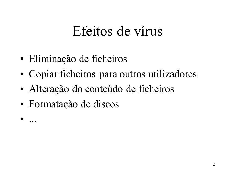 3 Tipos de vírus Alojamento nos sectores do sistema Alojamento em ficheiros Macros de documentos com dados Vírus que criam.com para ficheiros.exe Vírus cluster (alteram a directoria de modo a obrigar a executar os vírus antes dos programas)