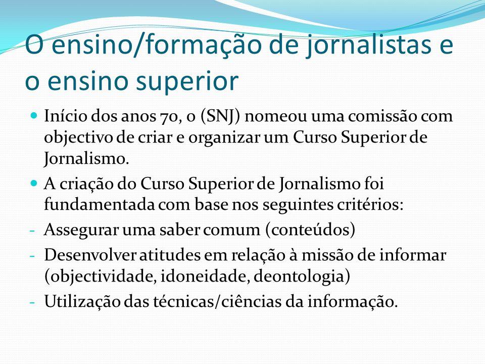 O ensino/formação de jornalistas e o ensino superior Início dos anos 70, o (SNJ) nomeou uma comissão com objectivo de criar e organizar um Curso Super