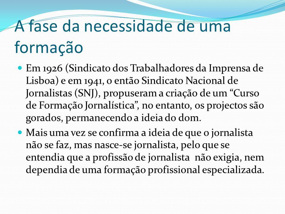 A fase da necessidade de uma formação Em 1926 (Sindicato dos Trabalhadores da Imprensa de Lisboa) e em 1941, o então Sindicato Nacional de Jornalistas