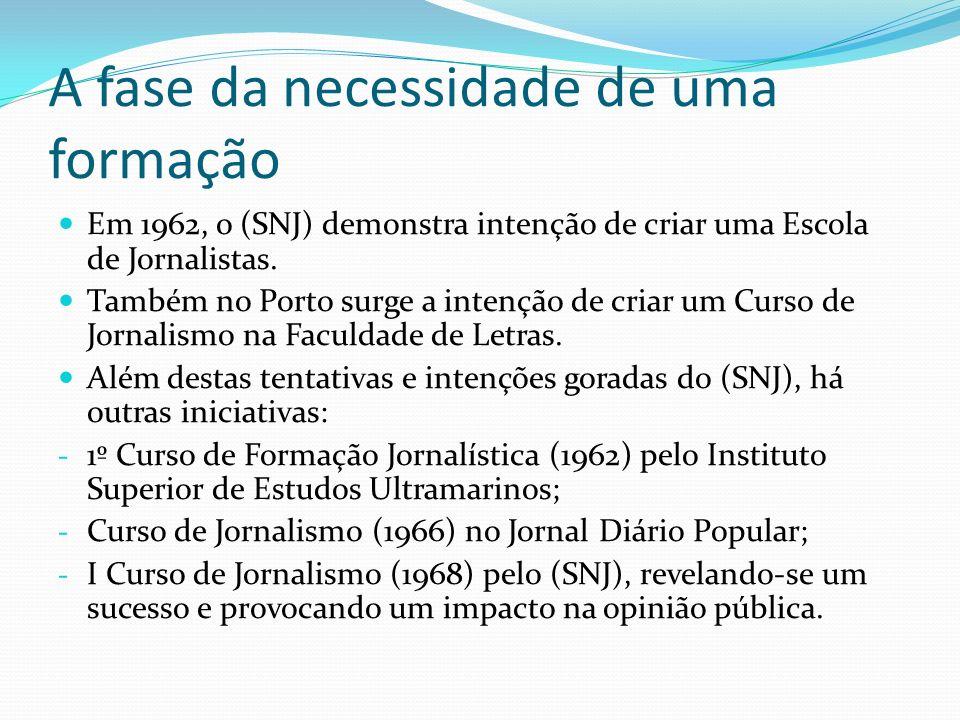 A fase da necessidade de uma formação Em 1962, o (SNJ) demonstra intenção de criar uma Escola de Jornalistas. Também no Porto surge a intenção de cria