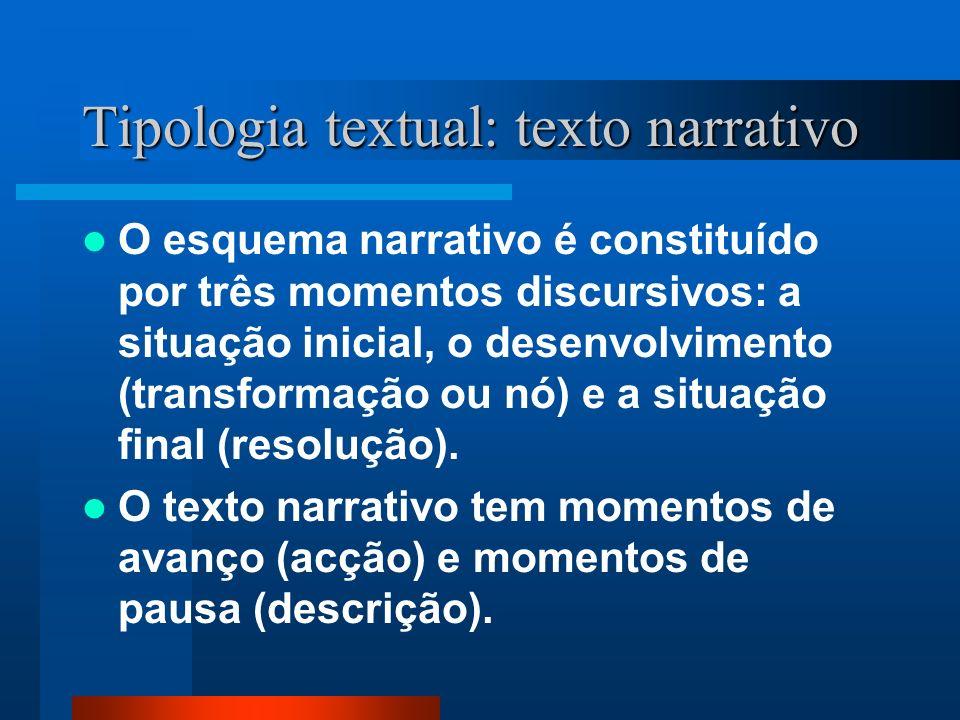 Tipologia textual: texto narrativo O esquema narrativo é constituído por três momentos discursivos: a situação inicial, o desenvolvimento (transformaç