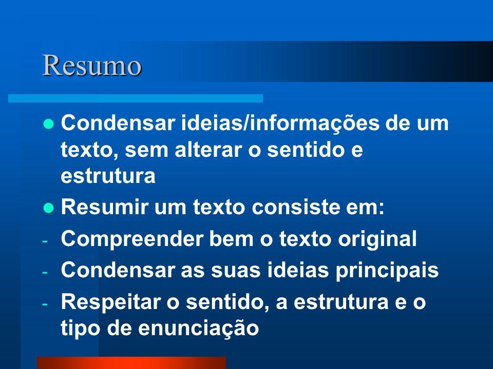 Resumo Condensar ideias/informações de um texto, sem alterar o sentido e estrutura Resumir um texto consiste em: - Compreender bem o texto original -