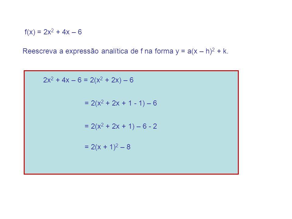 f(x) = 2x 2 + 4x – 6 Reescreva a expressão analítica de f na forma y = a(x – h) 2 + k.