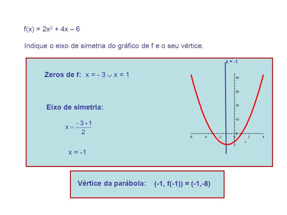 f(x) = 2x 2 + 4x – 6 Indique o eixo de simetria do gráfico de f e o seu vértice.