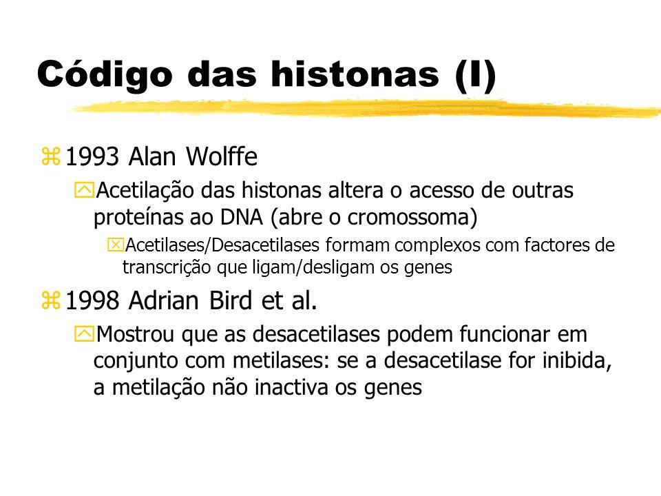 Código das histonas (I) z1993 Alan Wolffe yAcetilação das histonas altera o acesso de outras proteínas ao DNA (abre o cromossoma) xAcetilases/Desaceti