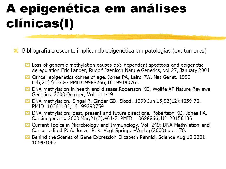 A epigenética em análises clínicas(I) zBibliografia crescente implicando epigenética em patologias (ex: tumores) yLoss of genomic methylation causes p