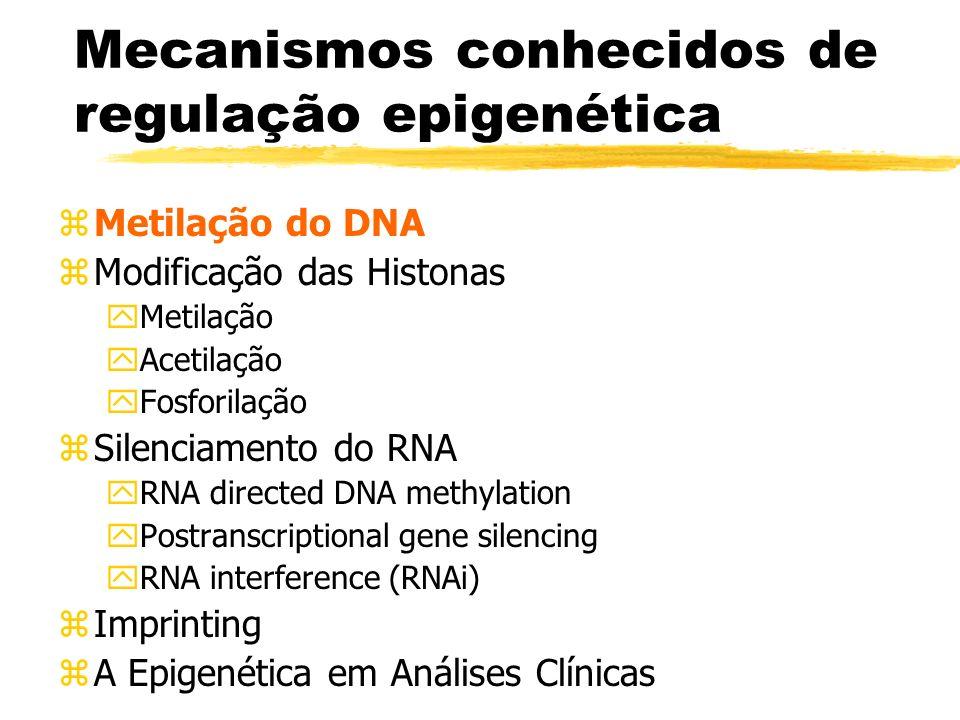 Imprinting (III) zMetilação está habitualmente envolvida quer activando quer inactivando os genes zGenes imprinted estão presentes em clusters yEx: xH19/Igf2 (11p15.5) xDKK1/GTL2 (14q32) xUm dos genes origina 1 proteína o outro RNA não traduzido (cerca de 25% dos genes imprinted não originam proteínas) xOs genes são separados por ilhas CpG as quais são locais de ligação de CTCF, formando uma fronteira cromossómica
