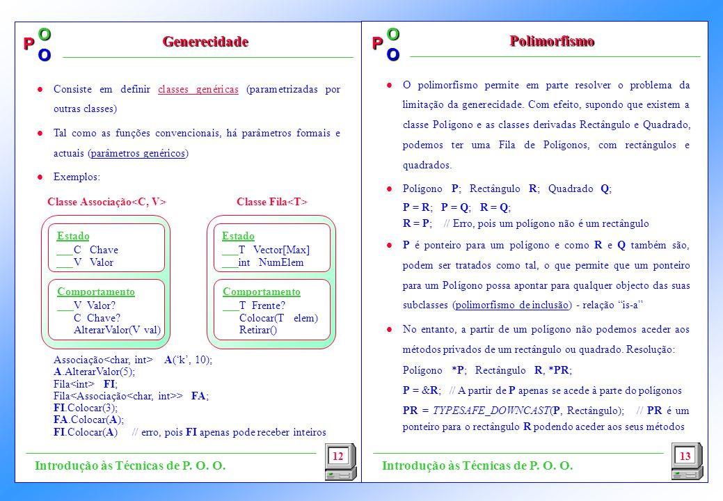 P OO P OO l O polimorfismo permite em parte resolver o problema da limitação da generecidade. Com efeito, supondo que existem a classe Polígono e as c