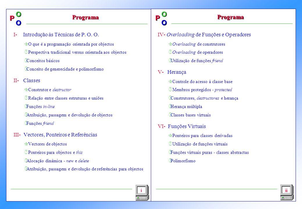 P OO P OO i Programa I- Introdução às Técnicas de P. O. O. ¶O que é a programação orientada por objectos ·Perspectiva tradicional versus orientada aos
