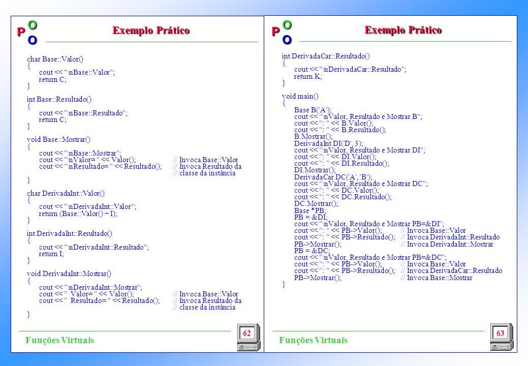 P OO P OO int DerivadaCar::Resultado() { cout << \nDerivadaCar::Resultado ; return K; } void main() { Base B( A ); cout << \nValor, Resultado e Mostrar B ; cout << : << B.Valor(); cout << : << B.Resultado(); B.Mostrar(); DerivadaInt DI( D , 3); cout << \nValor, Resultado e Mostrar DI ; cout << : << DI.Valor(); cout << : << DI.Resultado(); DI.Mostrar(); DerivadaCar DC( A , B ); cout << \nValor, Resultado e Mostrar DC ; cout << : << DC.Valor(); cout << : << DC.Resultado(); DC.Mostrar(); Base *PB; PB = &DI; cout << \nValor, Resultado e Mostrar PB=&DI ; cout Valor();// Invoca Base::Valor cout Resultado();// Invoca DerivadaInt::Resultado PB->Mostrar();// Invoca DerivadaInt::Mostrar PB = &DC; cout << \nValor, Resultado e Mostrar PB=&DC ; cout Valor();// Invoca Base::Valor cout Resultado();// Invoca DerivadaCar::Resultado PB->Mostrar();// Invoca Base::Mostrar } 62 Exemplo Prático Exemplo Prático Exemplo Prático 63 Funções Virtuais char Base::Valor() { cout << \nBase::Valor ; return C; } int Base::Resultado() { cout << \nBase::Resultado ; return C; } void Base::Mostrar() { cout << \nBase::Mostrar ; cout << \nValor= << Valor();// Invoca Base::Valor cout << \nResultado= << Resultado(); // Invoca Resultado da // classe da instância } char DerivadaInt::Valor() { cout << \nDerivadaInt::Valor ; return (Base::Valor() + I); } int DerivadaInt::Resultado() { cout << \nDerivadaInt::Resultado ; return I; } void DerivadaInt::Mostrar() { cout << \nDerivadaInt::Mostrar ; cout << Valor= << Valor(); // Invoca Base::Valor cout << Resultado= << Resultado(); // Invoca Resultado da // classe da instância }