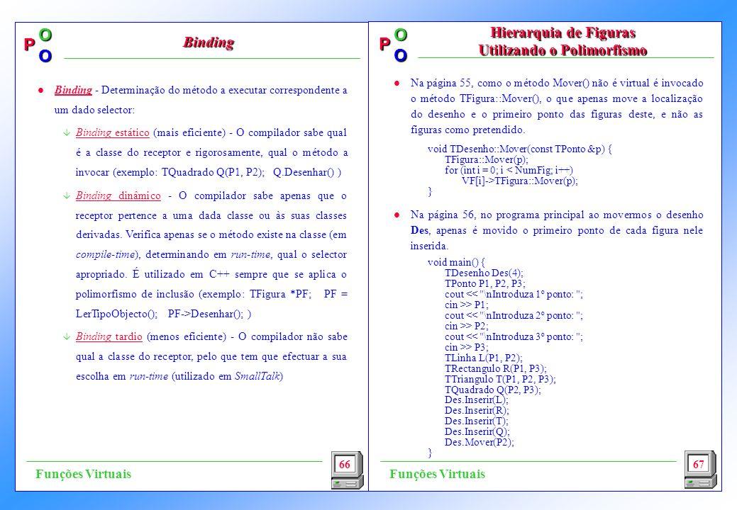 P OO P OO l Na página 55, como o método Mover() não é virtual é invocado o método TFigura::Mover(), o que apenas move a localização do desenho e o pri