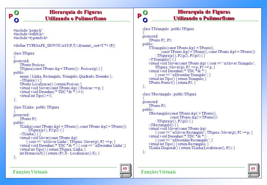 P OO P OO class TTriangulo : public TFigura { protected: TPonto P2, P3; public: TTriangulo(const TPonto &p1 = TPonto(), const TPonto &p2 = TPonto(), const TPonto &p3 = TPonto()) : TFigura(p1), P2(p2), P3(p3) { } ~TTriangulo() { } virtual void Mover(const TPonto &p) { cout << \nMover Triangulo ; TFigura::Mover(p); P2 += p; P3 += p; } virtual void Desenhar(/* TDC *dc */) { cout << \nDesenhar Triangulo ; } virtual int Tipo() { return Triangulo; } TPonto Ponto3() { return P3; } }; class TRectangulo : public TFigura { protected: TPonto P2; public: TRectangulo(const TPonto &p1 = TPonto(), const TPonto &p2 = TPonto()) : TFigura(p1), P2(p2) { } ~TRectangulo() { } virtual void Mover(const TPonto &p) { cout << \nMover Rectangulo ; TFigura::Mover(p); P2 += p; } virtual void Desenhar(/* TDC *dc */) { cout << \nDesenhar Rectangulo ; } virtual int Tipo() { return Rectangulo; } TLinha Diagonal() { return TLinha(Localizacao(), P2); } }; 68 Hierarquia de Figuras Utilizando o Polimorfismo 69 Funções Virtuais #include ponto.h #include #define TYPESAFE_DOWNCAST(P,T) (dynamic_cast (P)) class TFigura { protected: TPonto Posicao; TFigura(const TPonto &p = TPonto()) : Posicao(p) { } public: enum { Linha, Rectangulo, Triangulo, Quadrado, Desenho }; ~TFigura() { } TPonto Localizacao() { return Posicao; } virtual void Mover(const TPonto &p) { Posicao += p; } virtual void Desenhar(/* TDC *dc */) = 0; virtual int Tipo() = 0; }; class TLinha : public TFigura { protected: TPonto P2; public: TLinha(const TPonto &p1 = TPonto(), const TPonto &p2 = TPonto()) : TFigura(p1), P2(p2) { } ~TLinha() { } virtual void Mover(const TPonto &p) { cout << \nMover Linha ; TFigura::Mover(p); P2 += p; } virtual void Desenhar(/* TDC *dc */) { cout << \nDesenhar Linha ;} virtual int Tipo() { return TFigura::Linha; } int DistanciaX() { return (P2.X - Localizacao().X); } };