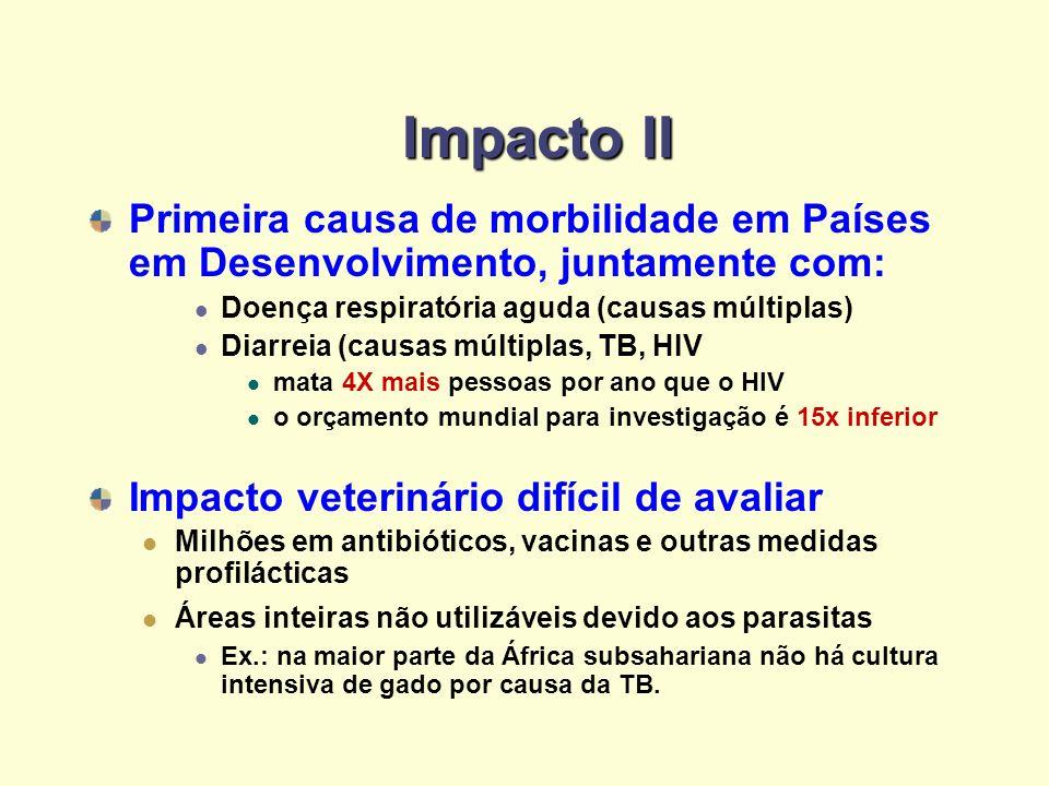 Impacto II Primeira causa de morbilidade em Países em Desenvolvimento, juntamente com: Doença respiratória aguda (causas múltiplas) Diarreia (causas m