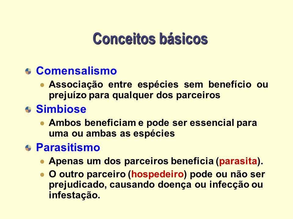 Conceitos básicos Comensalismo Associação entre espécies sem benefício ou prejuízo para qualquer dos parceiros Simbiose Ambos beneficiam e pode ser es