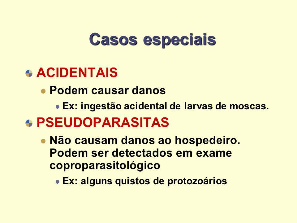 Casos especiais ACIDENTAIS Podem causar danos Ex: ingestão acidental de larvas de moscas. PSEUDOPARASITAS Não causam danos ao hospedeiro. Podem ser de