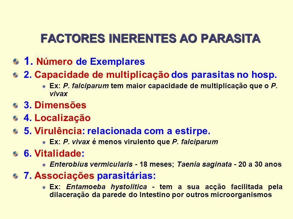 FACTORES INERENTES AO PARASITA 1. Número de Exemplares 2. Capacidade de multiplicação dos parasitas no hosp. Ex: P. falciparum tem maior capacidade de