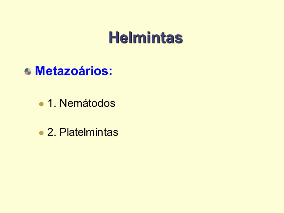 Helmintas Metazoários: 1. Nemátodos 2. Platelmintas