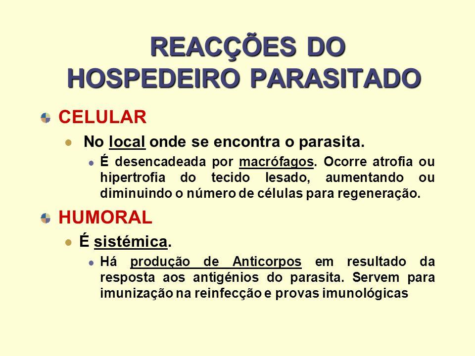 REACÇÕES DO HOSPEDEIRO PARASITADO REACÇÕES DO HOSPEDEIRO PARASITADO CELULAR No local onde se encontra o parasita. É desencadeada por macrófagos. Ocorr