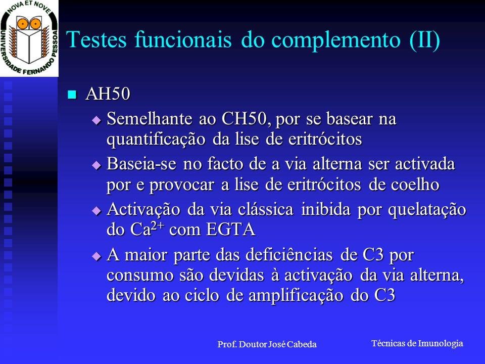 Técnicas de Imunologia Prof. Doutor José Cabeda Testes funcionais do complemento (II) AH50 AH50 Semelhante ao CH50, por se basear na quantificação da