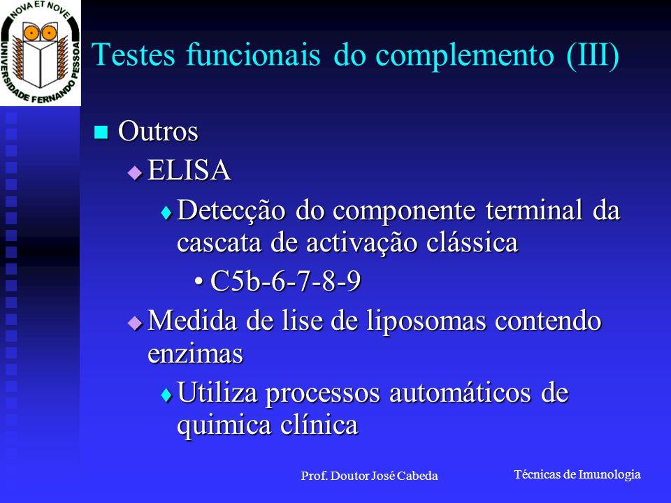 Técnicas de Imunologia Prof. Doutor José Cabeda Testes funcionais do complemento (III) Outros Outros ELISA ELISA Detecção do componente terminal da ca