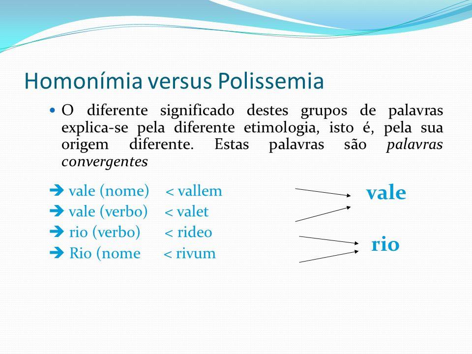 Homonímia versus Polissemia O diferente significado destes grupos de palavras explica-se pela diferente etimologia, isto é, pela sua origem diferente.