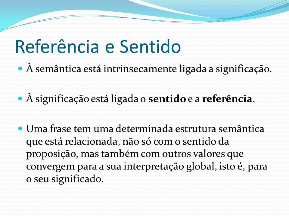 Referência e Sentido À semântica está intrinsecamente ligada a significação. À significação está ligada o sentido e a referência. Uma frase tem uma de