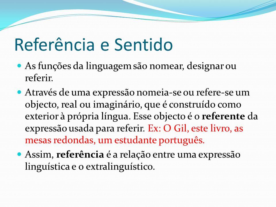 Referência e Sentido As funções da linguagem são nomear, designar ou referir. Através de uma expressão nomeia-se ou refere-se um objecto, real ou imag