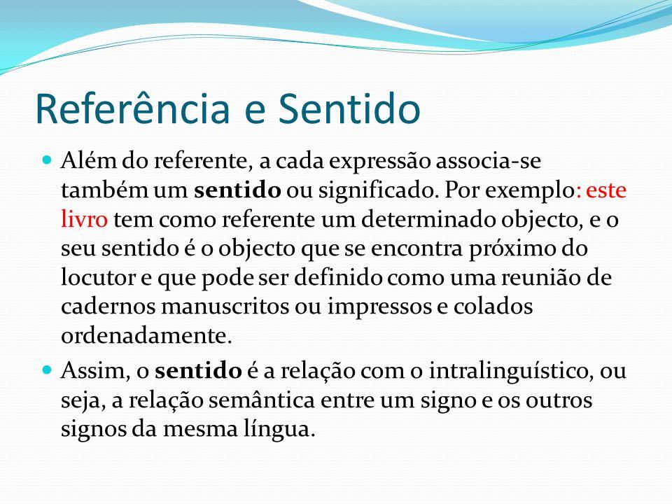 Referência e Sentido Além do referente, a cada expressão associa-se também um sentido ou significado. Por exemplo: este livro tem como referente um de
