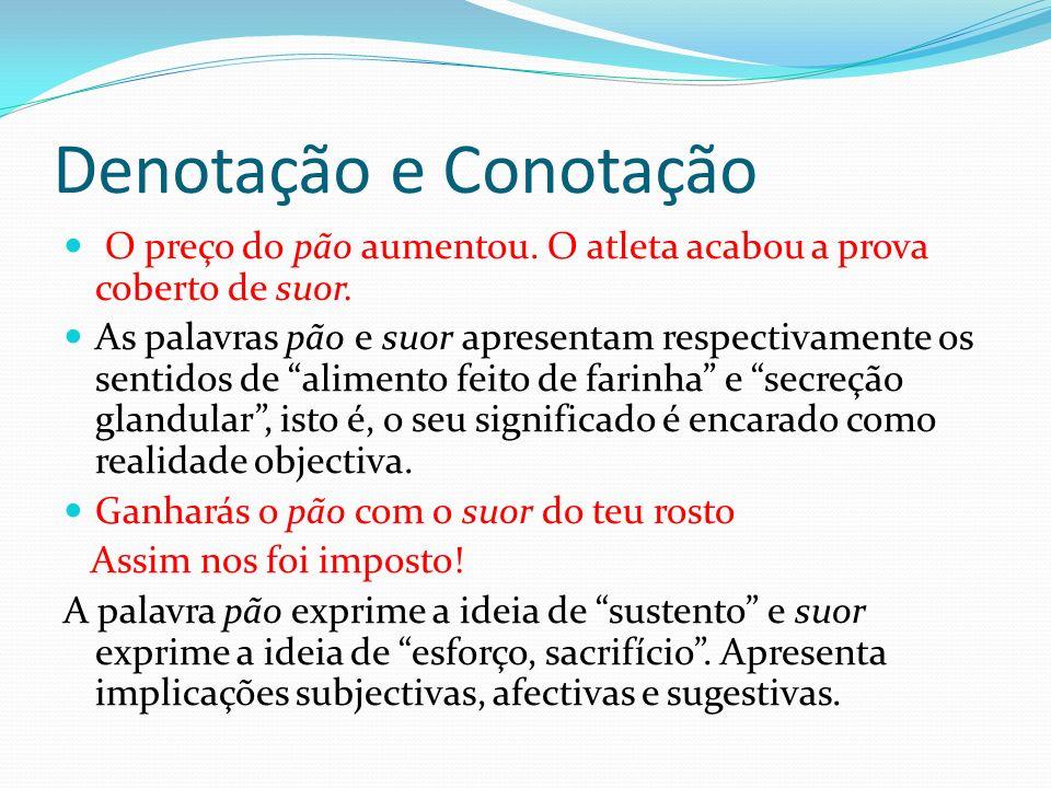 Denotação e Conotação Facilmente concluímos que os mesmos significantes (pão e suor) adquirem significados diferentes nos dois exemplos.
