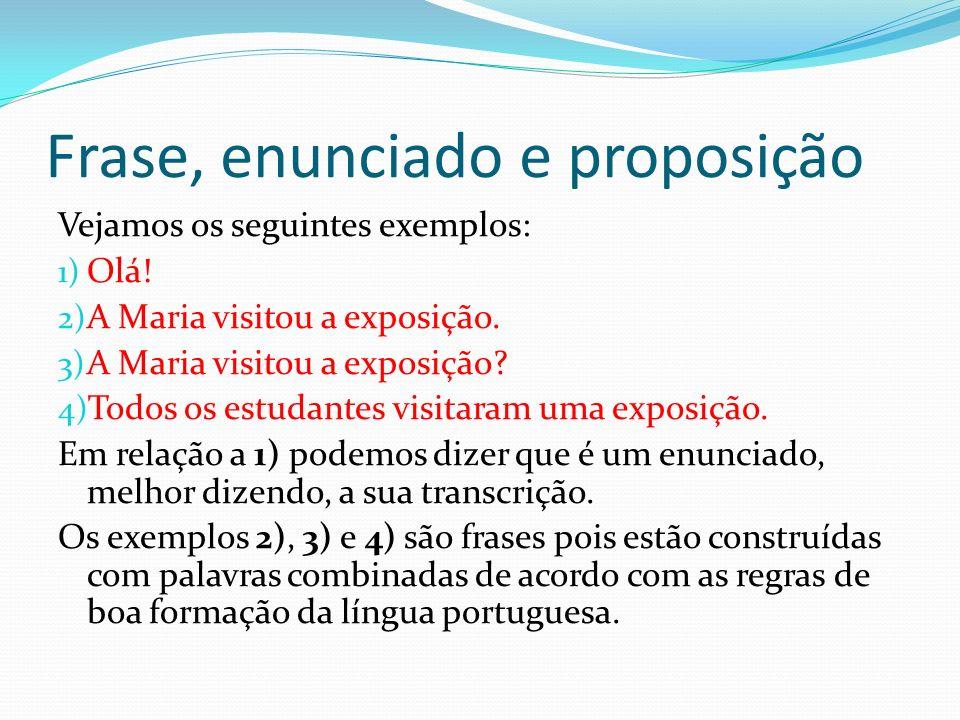 Frase, enunciado e proposição 1) Olá.2) A Maria visitou a exposição.