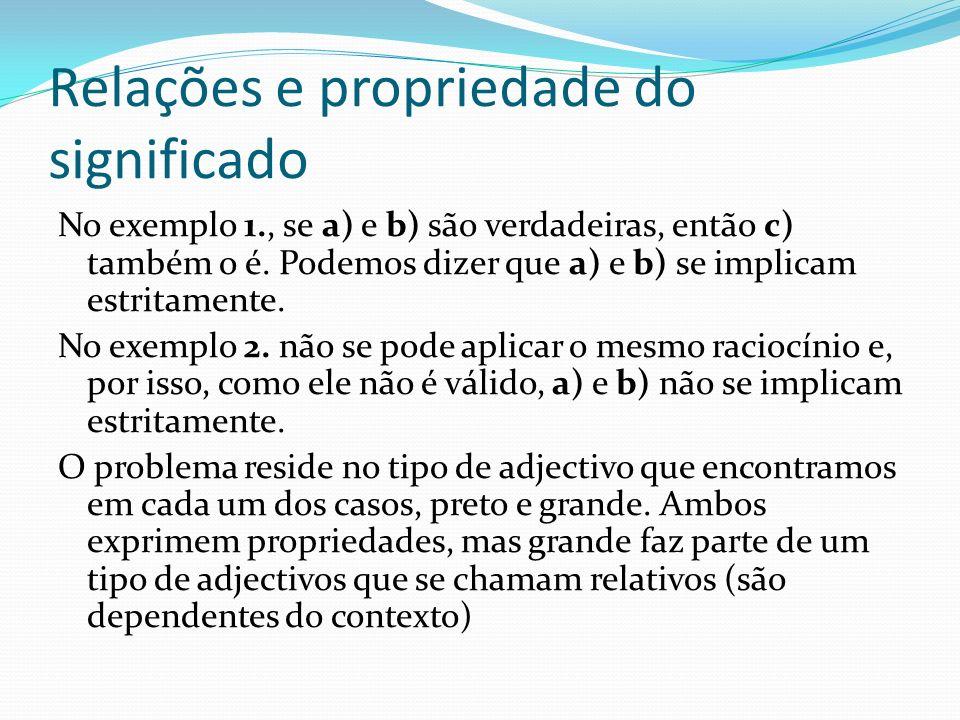 Relações e propriedade do significado A Pressuposição: 1.