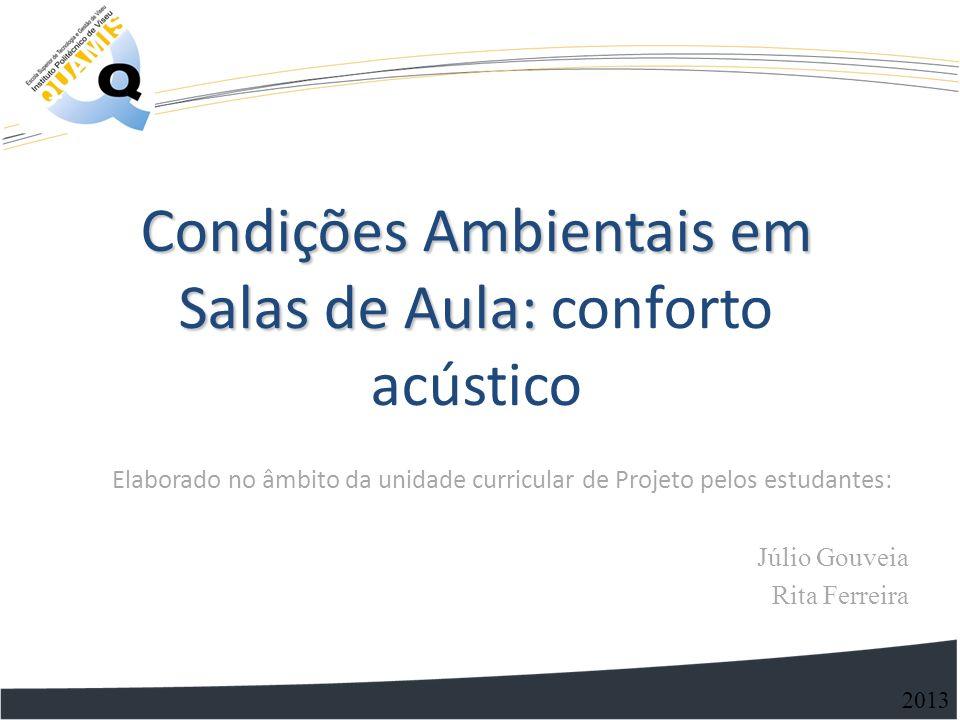 Condições Ambientais em Salas de Aula: Condições Ambientais em Salas de Aula: conforto acústico 2013 Elaborado no âmbito da unidade curricular de Proj