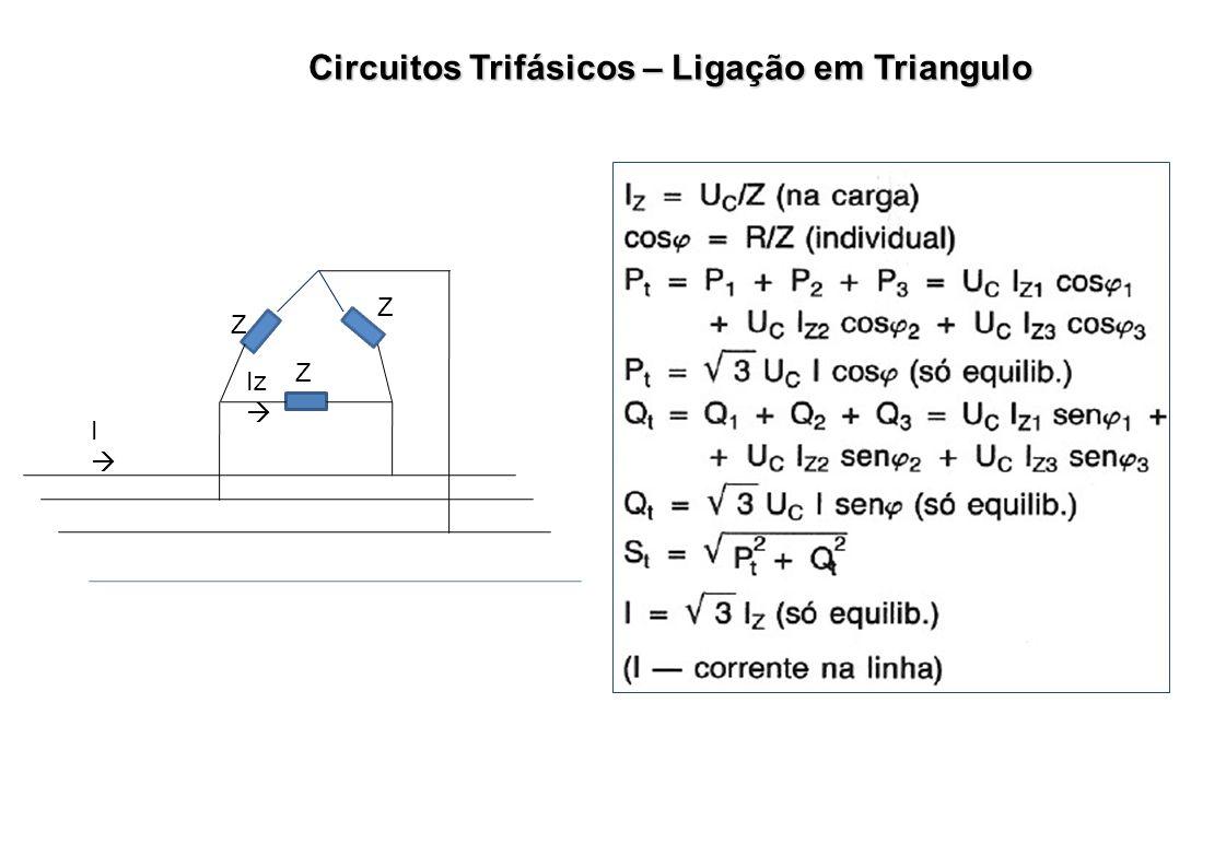 Circuitos Trifásicos – Ligação em Triangulo I Z Z Z Iz