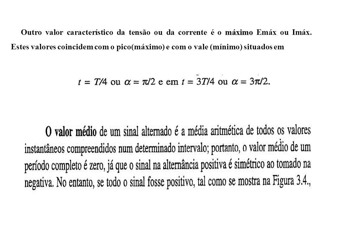 máximo Outro valor característico da tensão ou da corrente é o máximo Emáx ou Imáx.