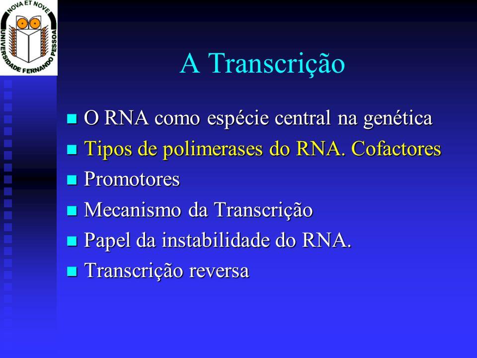 A Transcrição O RNA como espécie central na genética O RNA como espécie central na genética Tipos de polimerases do RNA. Cofactores Tipos de polimeras