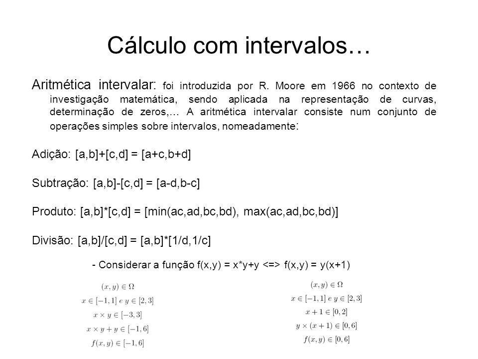 Cálculo com intervalos… Aritmética intervalar: foi introduzida por R. Moore em 1966 no contexto de investigação matemática, sendo aplicada na represen