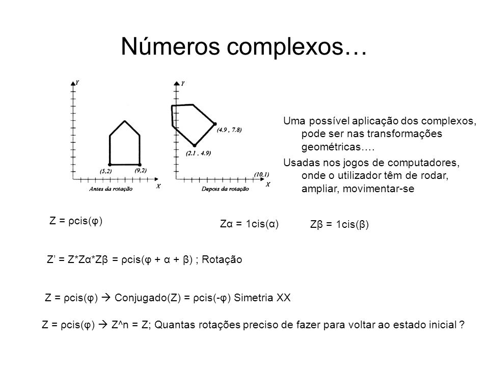 Números complexos… Z = ρcis(φ) Zα = 1cis(α) Zβ = 1cis(β) Z = Z*Zα*Zβ = ρcis(φ + α + β) ; Rotação Z = ρcis(φ) Conjugado(Z) = ρcis(-φ) Simetria XX Uma p