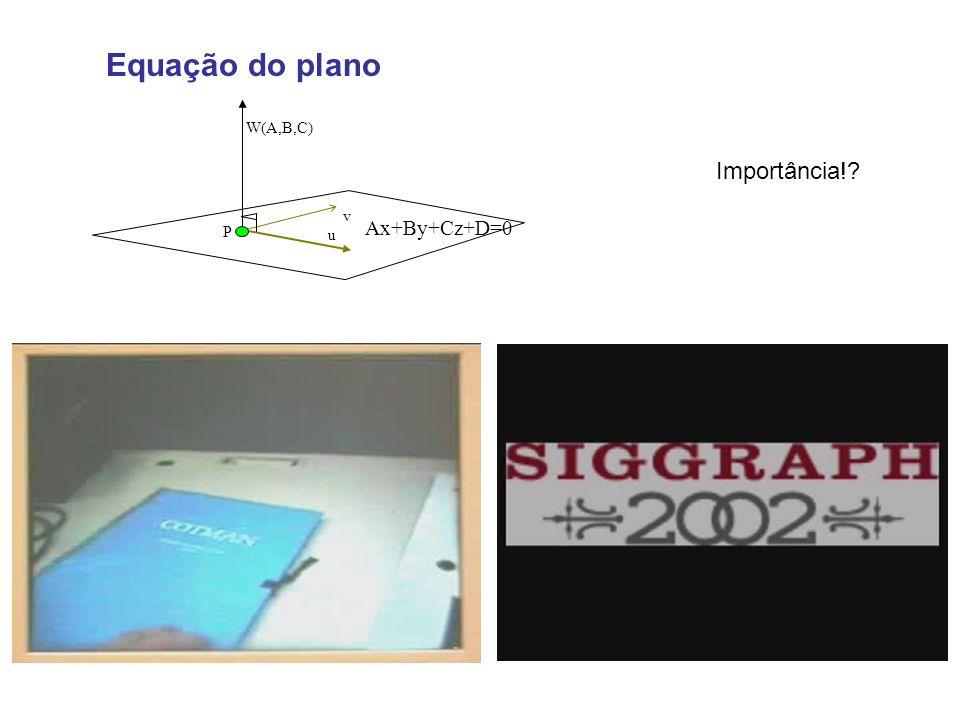 Equação do plano u P W(A,B,C) v Ax+By+Cz+D=0 Importância!?