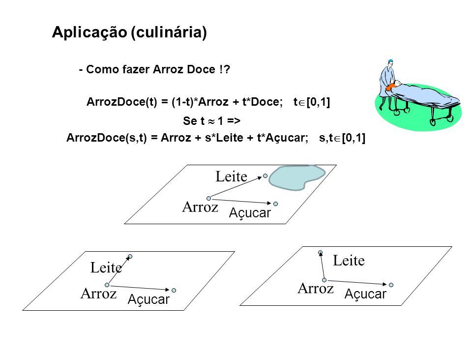 Aplicação (culinária) - Como fazer Arroz Doce !? ArrozDoce(t) = (1-t)*Arroz + t*Doce; t [0,1] Se t 1 => Açucar Leite Arroz Açucar Leite Arroz ArrozDoc