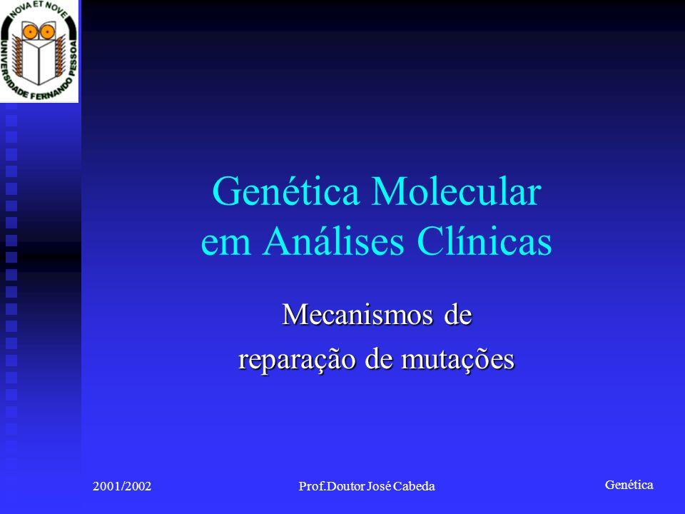 Genética 2001/2002Prof.Doutor José Cabeda Genética Molecular em Análises Clínicas Mecanismos de reparação de mutações