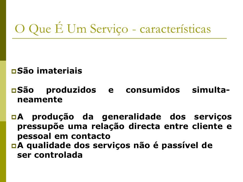 O Que É Um Serviço - características São imateriais São produzidos e consumidos simulta- neamente A produção da generalidade dos serviços pressupõe um