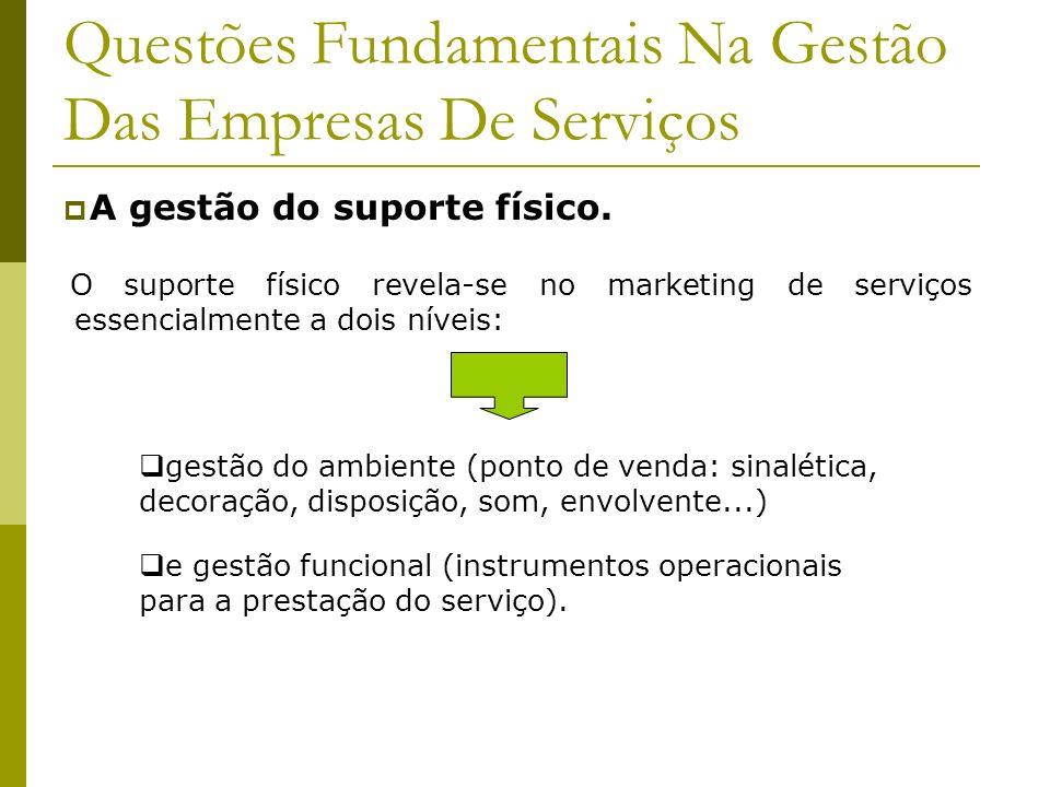 Questões Fundamentais Na Gestão Das Empresas De Serviços A gestão do suporte físico. O suporte físico revela-se no marketing de serviços essencialment
