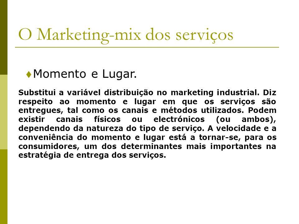 Momento e Lugar. O Marketing-mix dos serviços Substitui a variável distribuição no marketing industrial. Diz respeito ao momento e lugar em que os ser