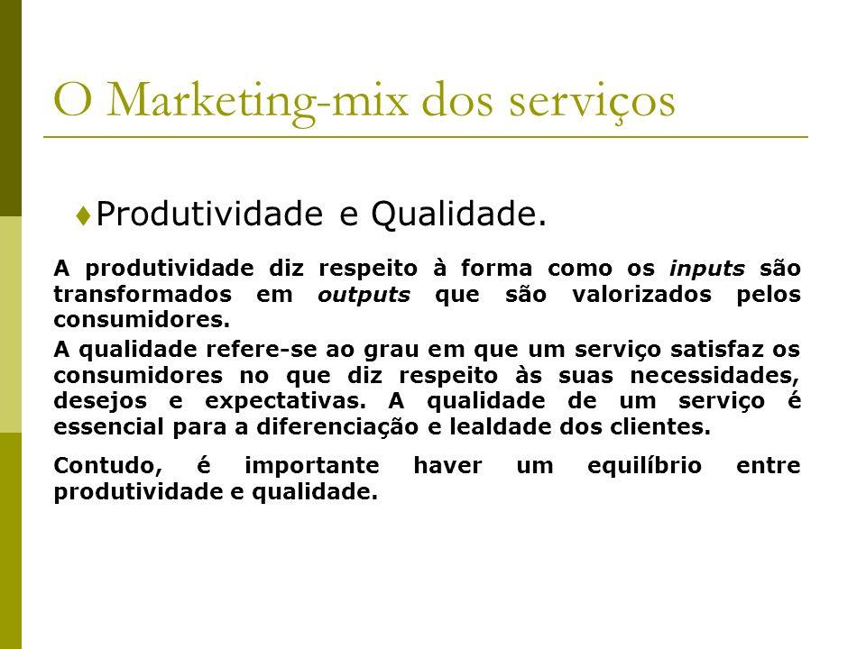 Produtividade e Qualidade. O Marketing-mix dos serviços A produtividade diz respeito à forma como os inputs são transformados em outputs que são valor