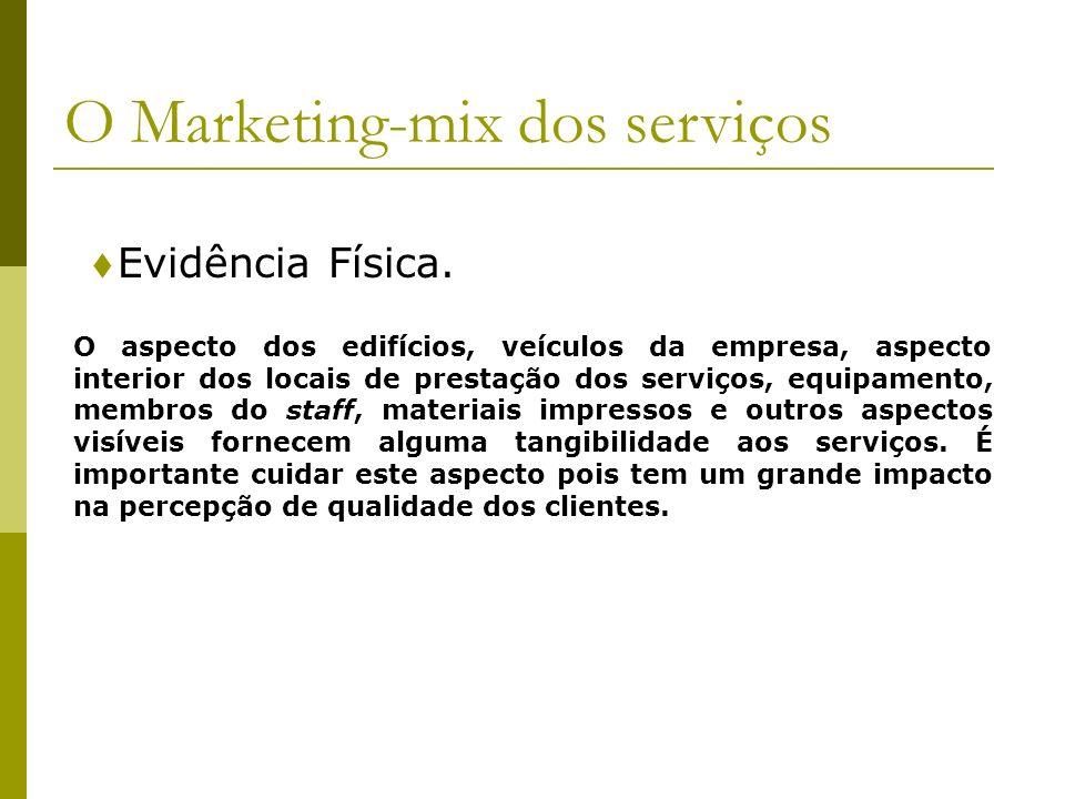 Evidência Física. O Marketing-mix dos serviços O aspecto dos edifícios, veículos da empresa, aspecto interior dos locais de prestação dos serviços, eq