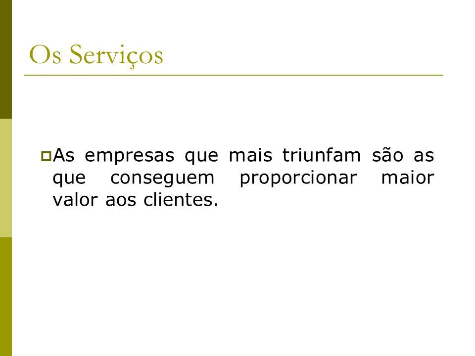 Os Serviços As empresas que mais triunfam são as que conseguem proporcionar maior valor aos clientes.