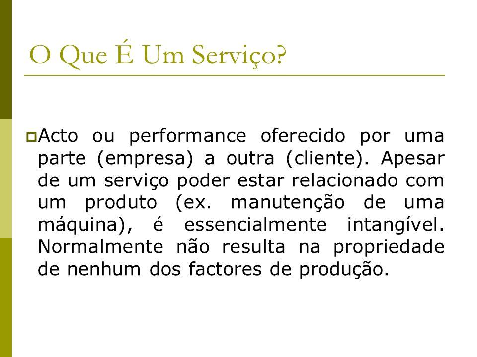 O Que É Um Serviço? Acto ou performance oferecido por uma parte (empresa) a outra (cliente). Apesar de um serviço poder estar relacionado com um produ