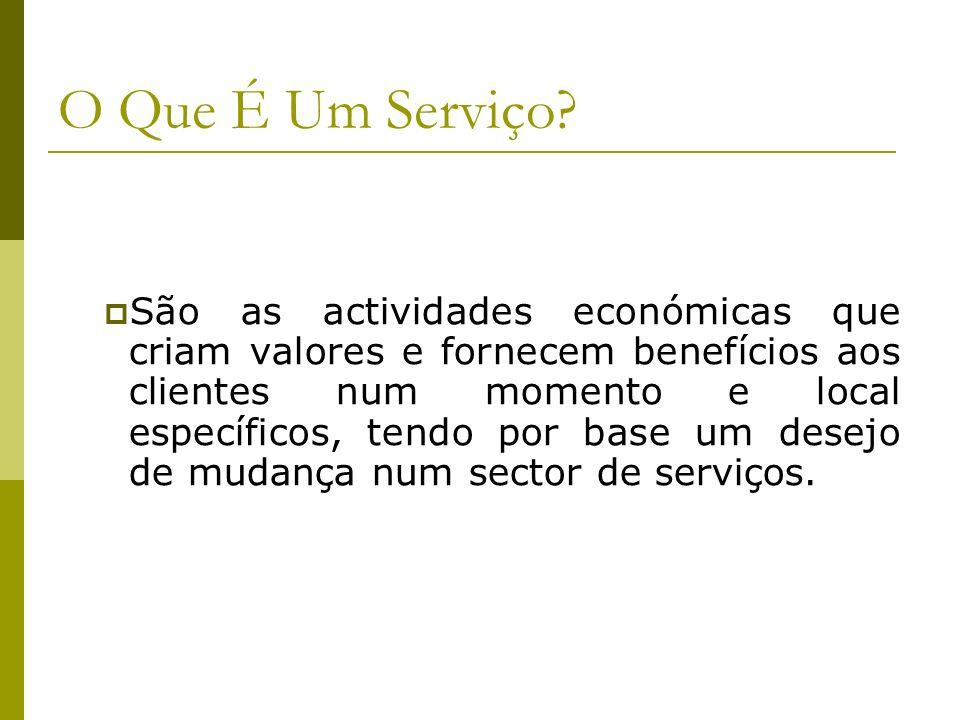 O Que É Um Serviço? São as actividades económicas que criam valores e fornecem benefícios aos clientes num momento e local específicos, tendo por base